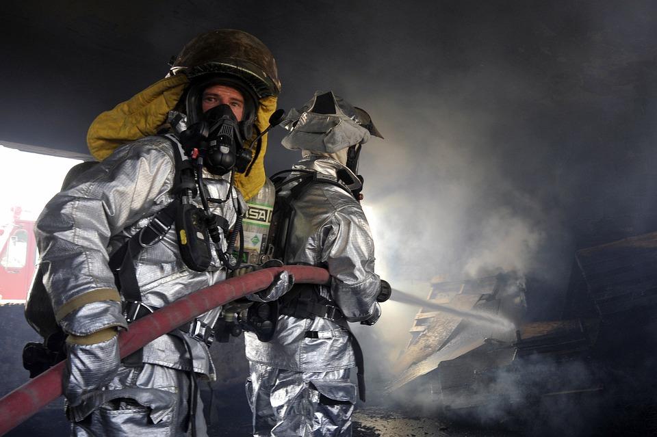 Firemen, Firefighter, Fire, Flames, Smoke, Water, Hose