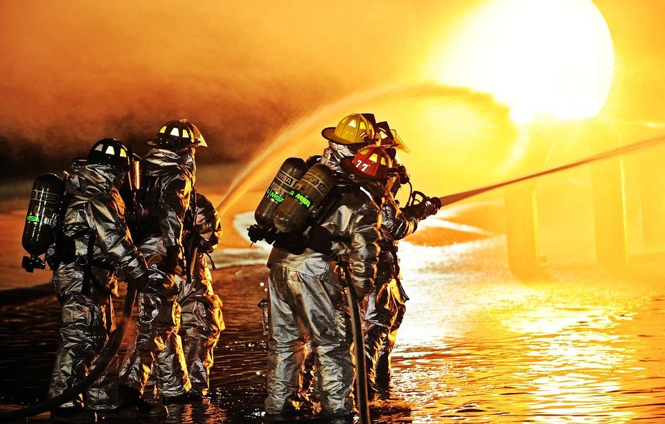 Scott Afb, Missouri, Firemen, Firefighters, Hose, Fire