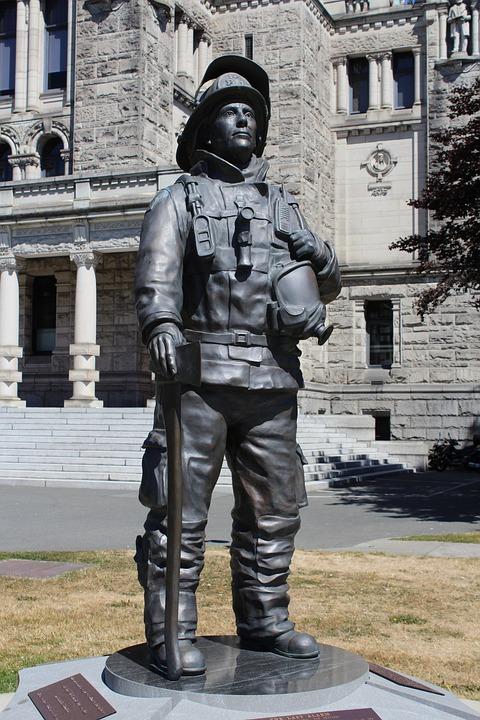 Statue, Bronze, Fireman, British Columbia, Canada