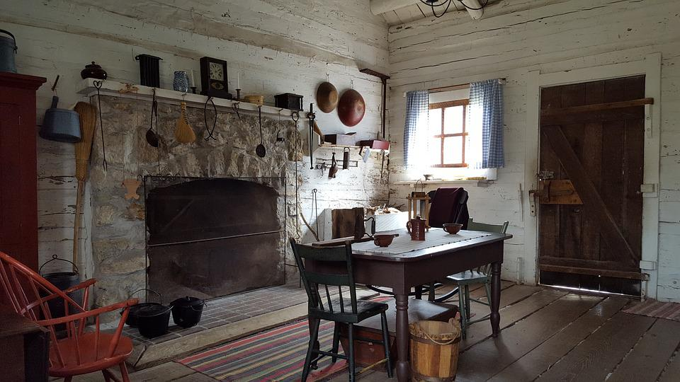 Free photo Fireplace Old House Historic New Salem Dinning Room