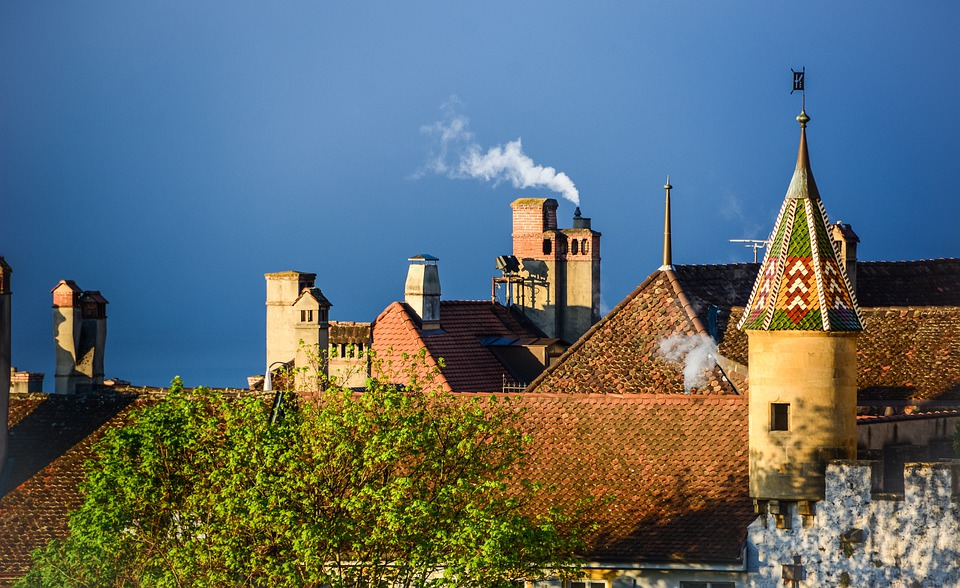 Castle, City, Tower, Roofing, Roof, Building, Fireplace