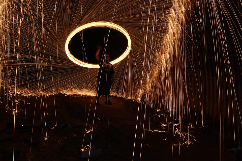 Firespin, Lightplay, Steelwool, Fire, Dark, Heat, Fiery