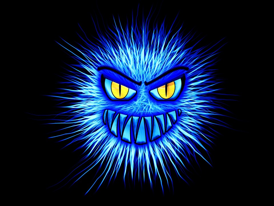 Monster, Blue, Internet, Security, Attack, Firewall