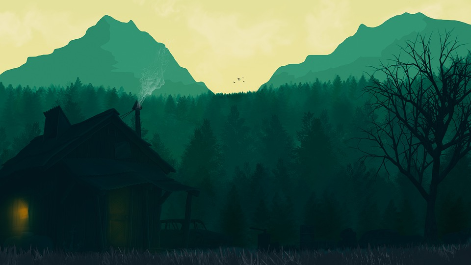 Firewatch, Game, Painting, Video Game, Mountain Hut