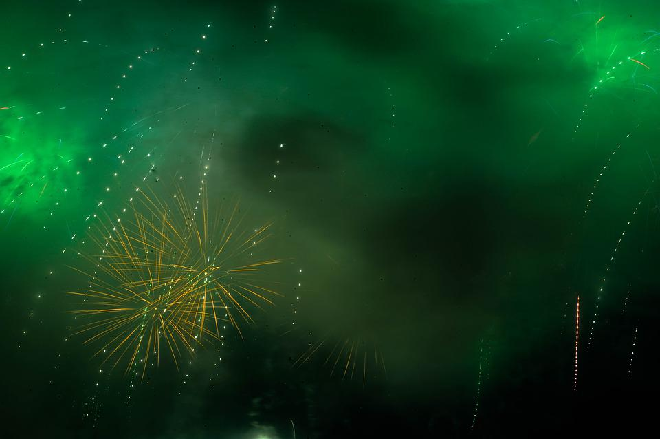 Fireworks, Green, Smoke