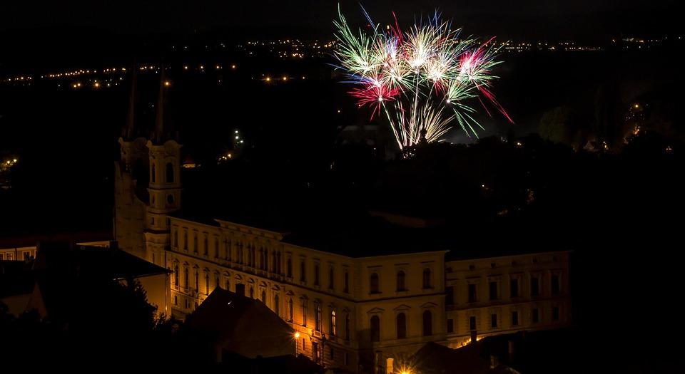 Fireworks, Nice, In The Evening, Esztergom, Church