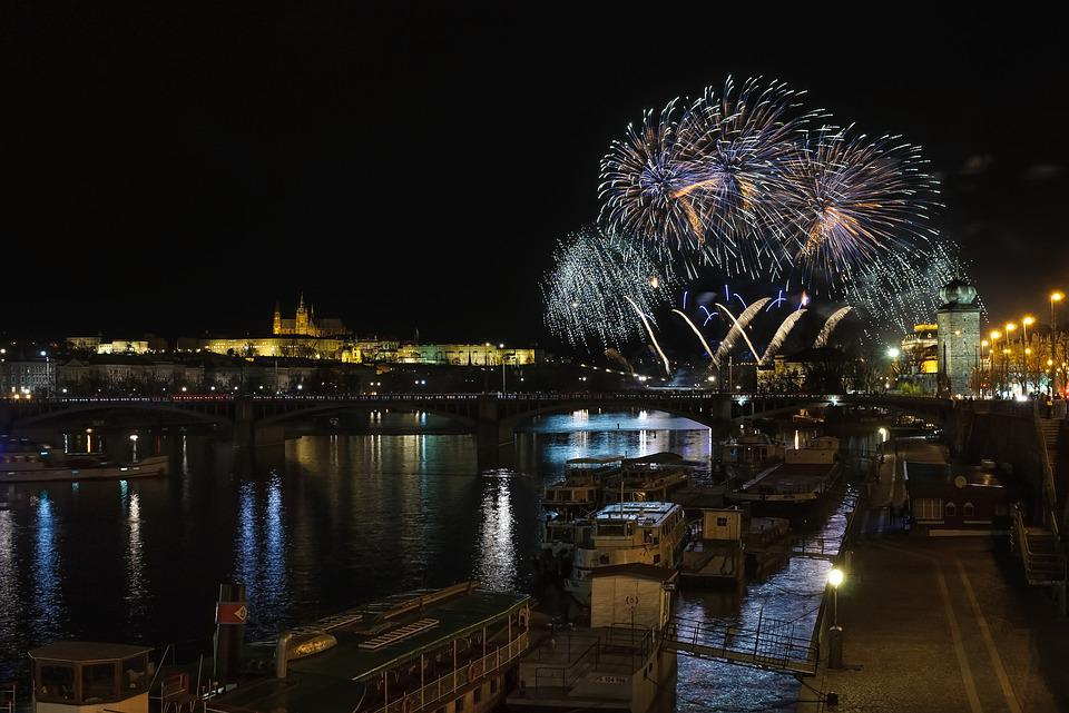 Prague, Prague Castle, Fireworks, River, Charles Bridge