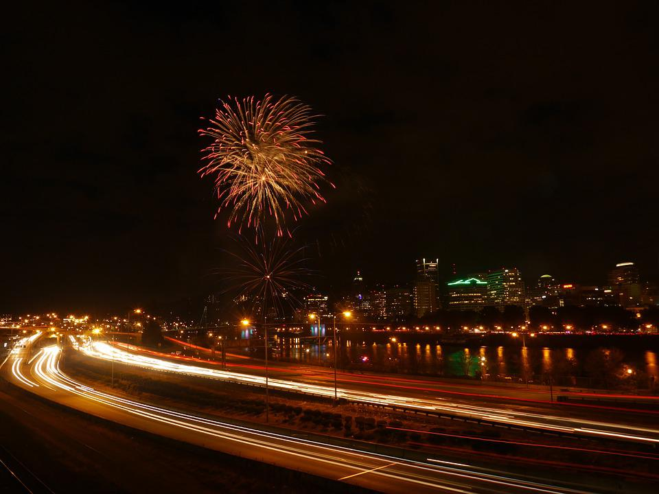 Portland, Fireworks, Night, Skyline