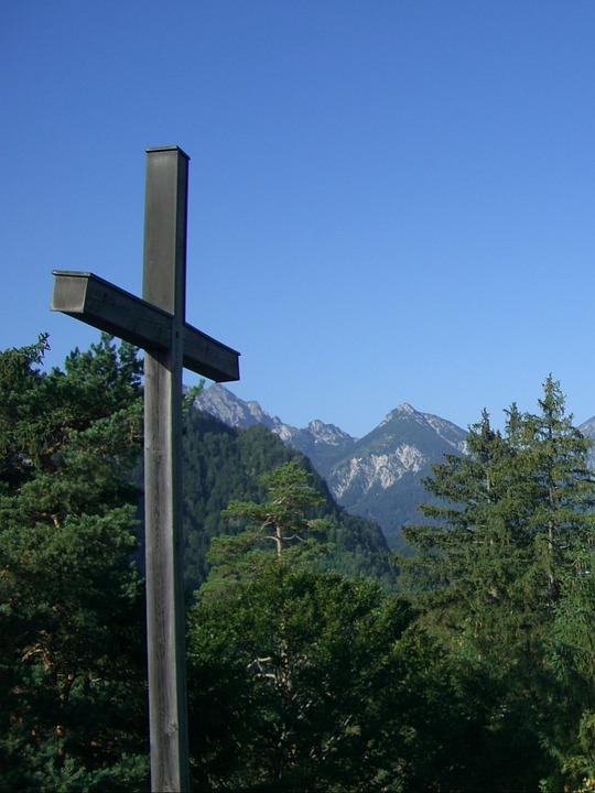 Cross, Summit Cross, Firs, Mountains, Allgäu Alps, Sky