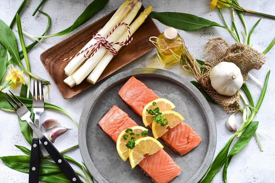 Salmon, Fish, Raw, Asparagus, Fresh, Salmon Fillet