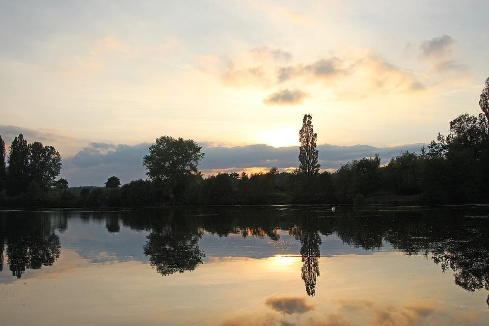 Fish Pond, Waters, Evening Sky, Nature, Natural Water