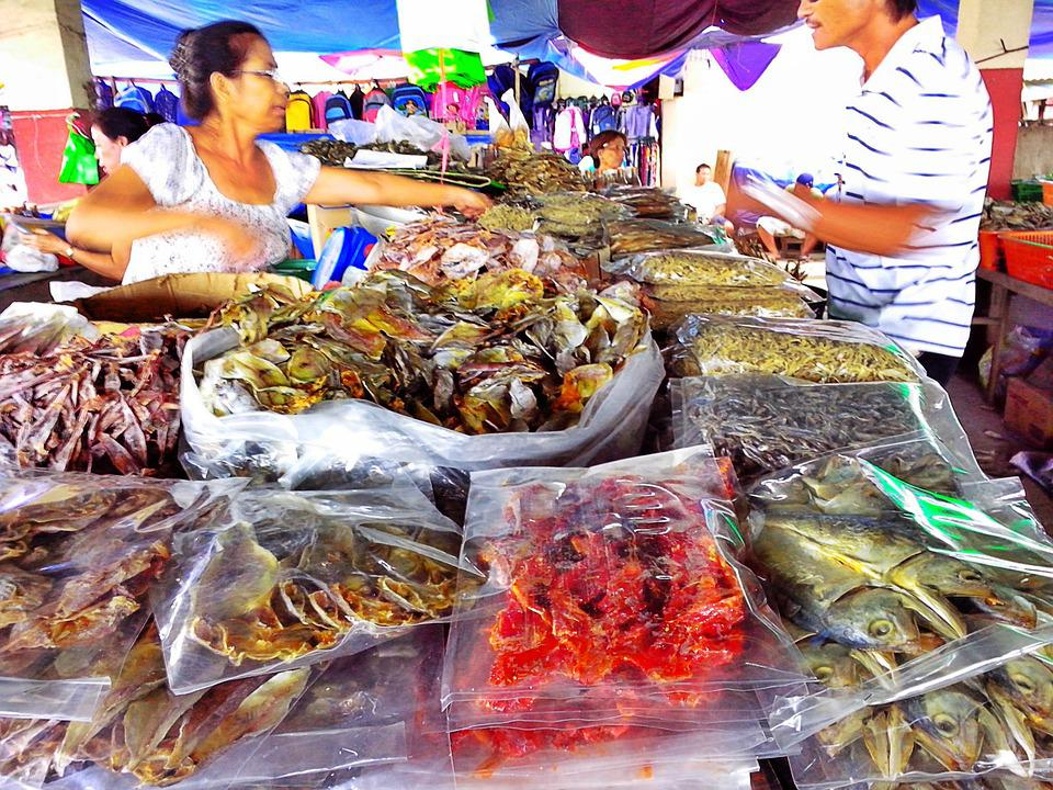 Dried Fish, Market, People, Seafood, Dry, Food, Fish