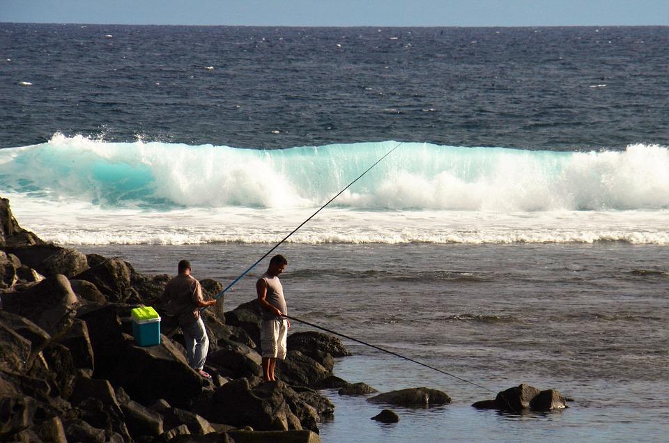 Angler, Lake, Wave Roaring, Fish, Water, Fischer