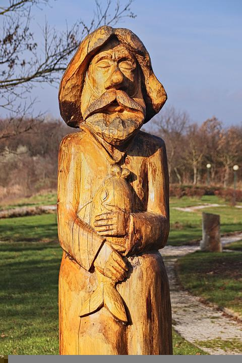 Fisherman Statue, Fisherman Sculpture, Wooden Statue