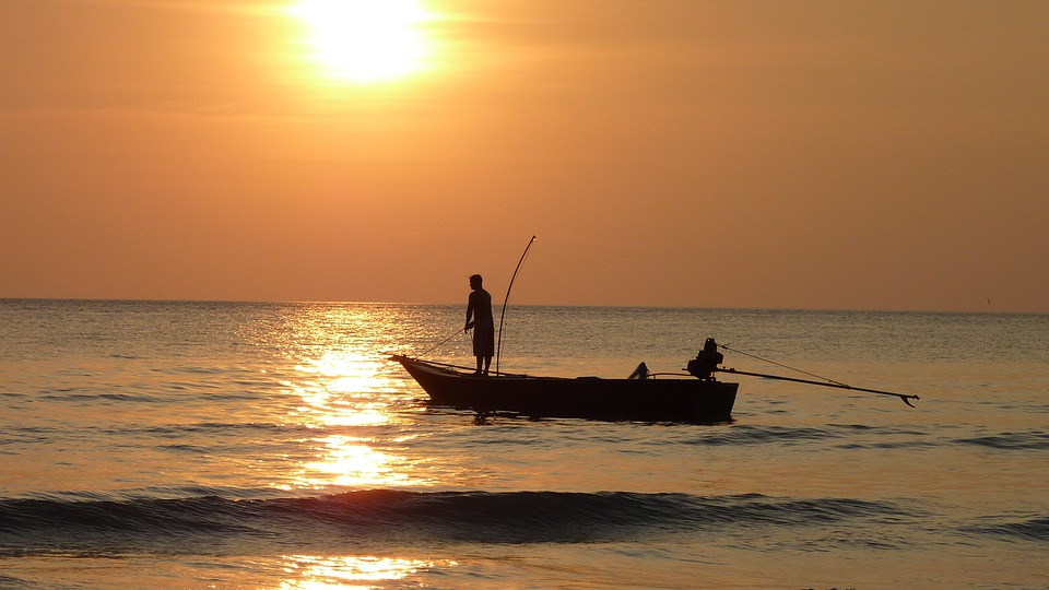 Fisherman, Fish, Fishing Boat, Sunset, Twilight