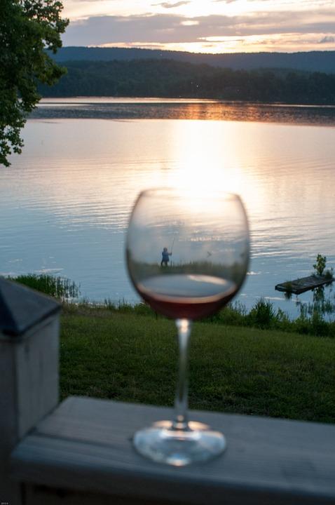 Wine Glass, Sunset, Lake, Fisherman, Tn, Outdoors