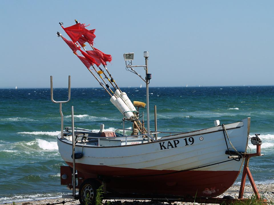 Fishing Boat, Beach, Buoys, Baltic Sea, Water