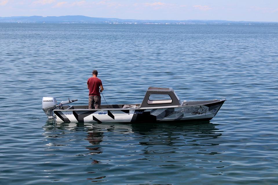 Fisherman, Fishing Boat, Fish, Rest, Lake, Mirroring