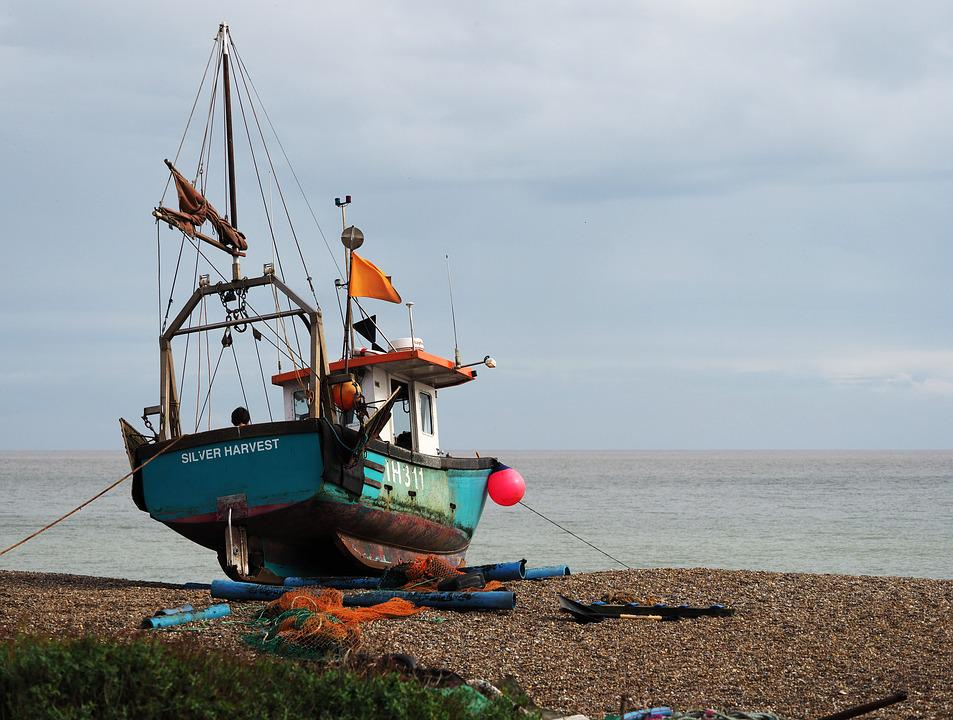 Boat, Fishing, Beach, Shingle, Shore, Horizon