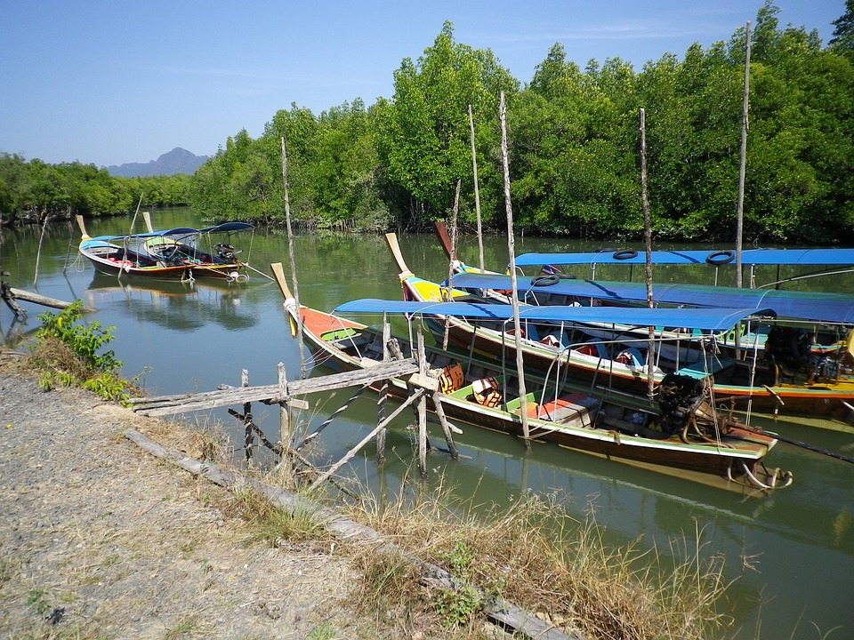 River, Boats, Fishing Boats, Thailand, Colorful