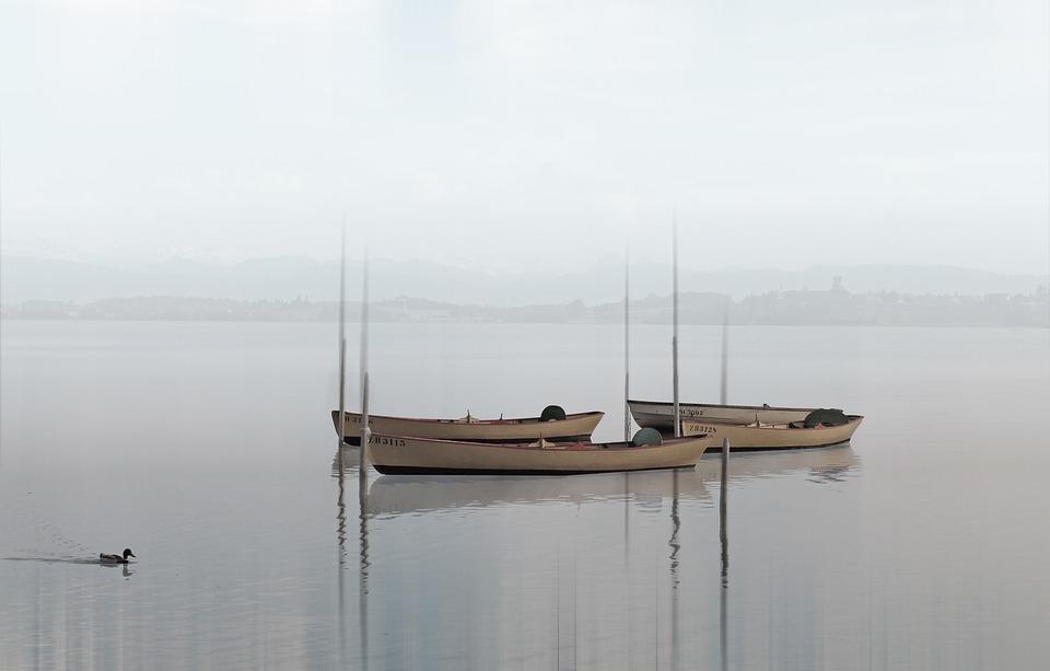 Boats, Lake, Haze, Water, Silent, Fishing Boats