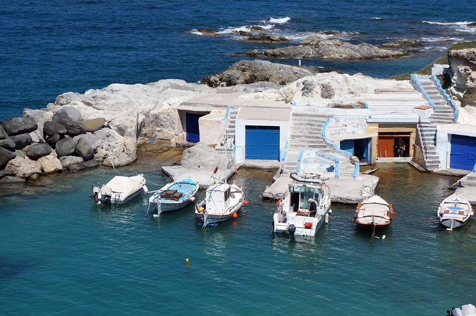 Greek Island, Milos, Fishermen's Houses, Fishing Boats