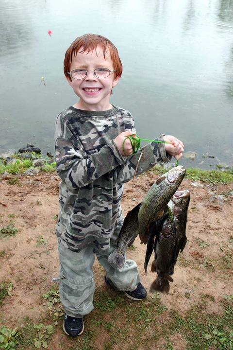 Catch, Fish, Holding, Proudly, Fishing, Glasses, Boy