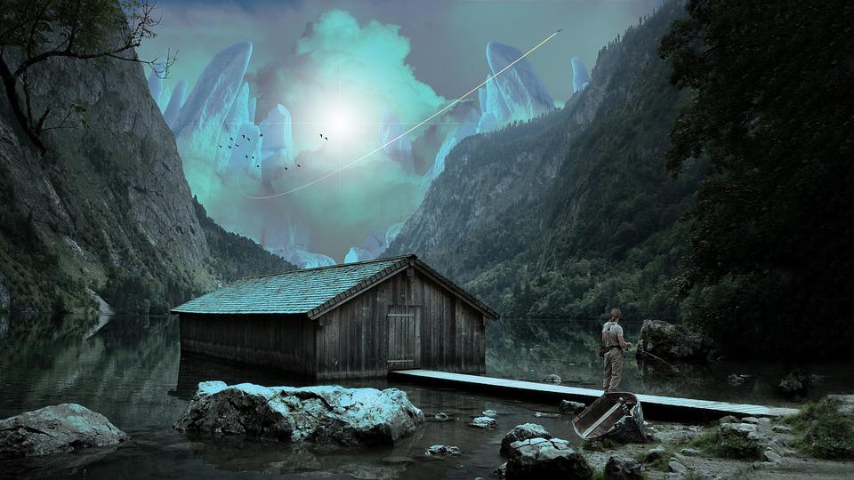 Mountains, Hut, Fishing, Nature, Valley, Lake, Bridge