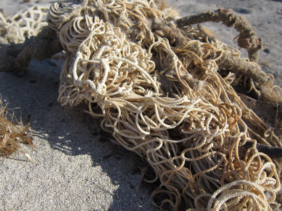 Network, Fishing Net, Beach, Sand, Flotsam, Close