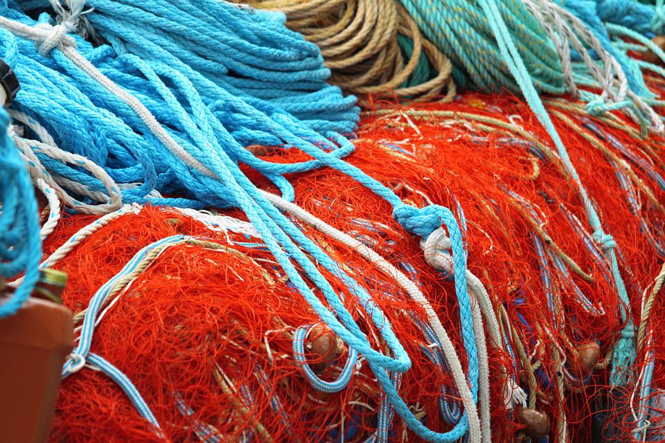 Netting, Colors, Fishing, Rope, Boats, Marin
