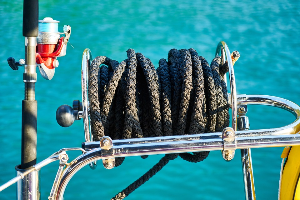 Rope, Black, Wrap, Connect, Fishing Rod, Boat, Long