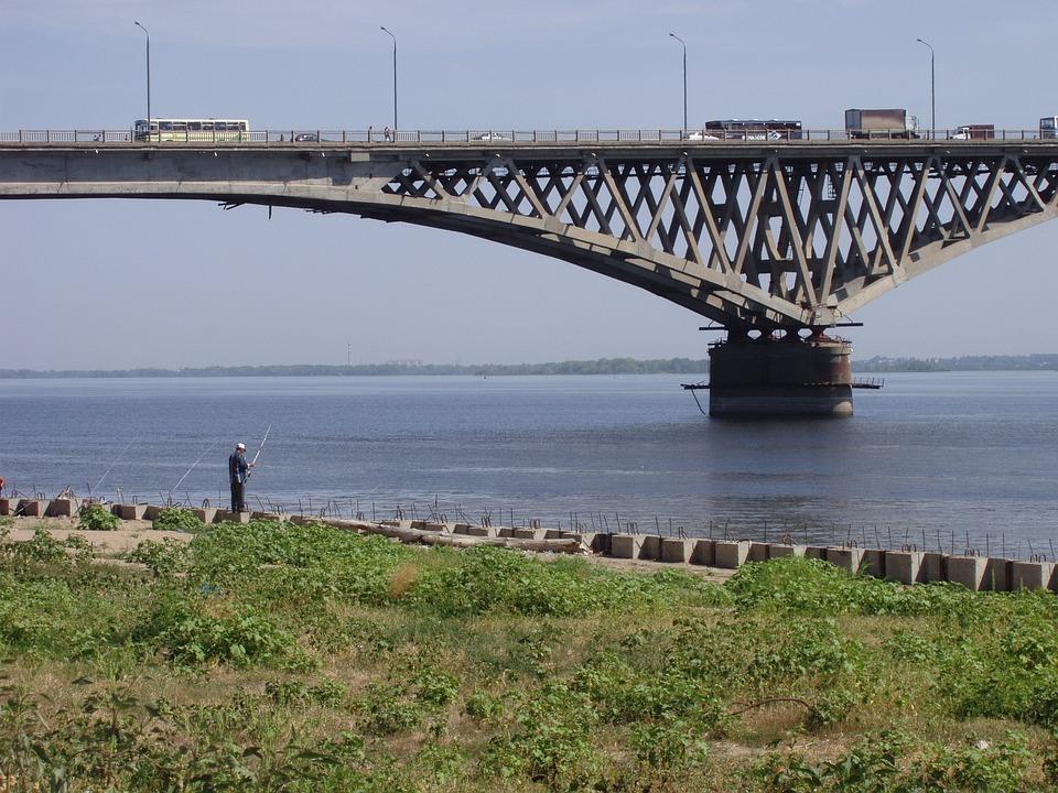Bridge, River, Water, Russia, Fishing