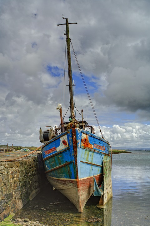 Boat, Sea, Derelict, Ocean, Water, Sky, Nature, Fishing
