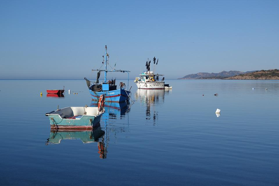 Sardinia, South Coast, Fishing Vessel, Waters, Sea