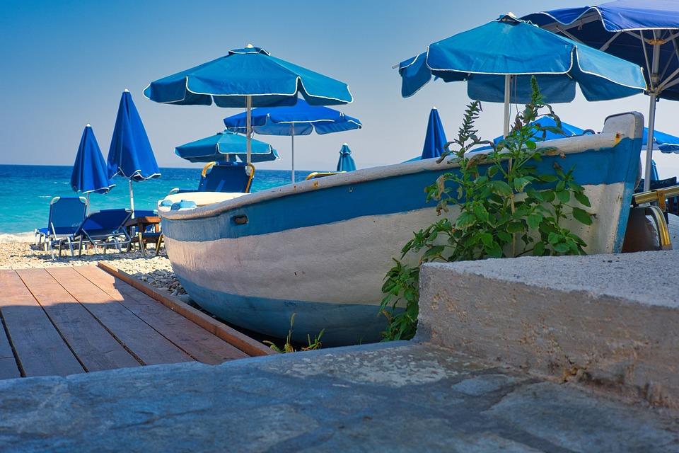 Greece, Samos, Beach, Fishing Village