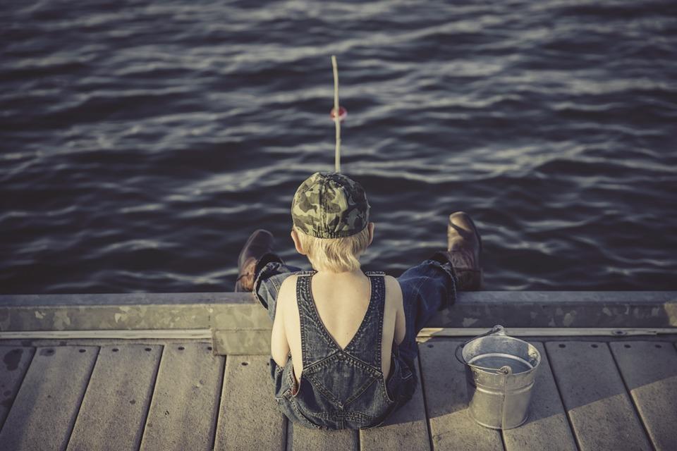 Boy, Fishing, Water, Summer, Overalls, Bucket, Outdoors