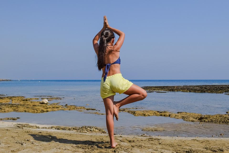 Girl, Fitness, Meditation, Beach, Summer, Healthy, Fit