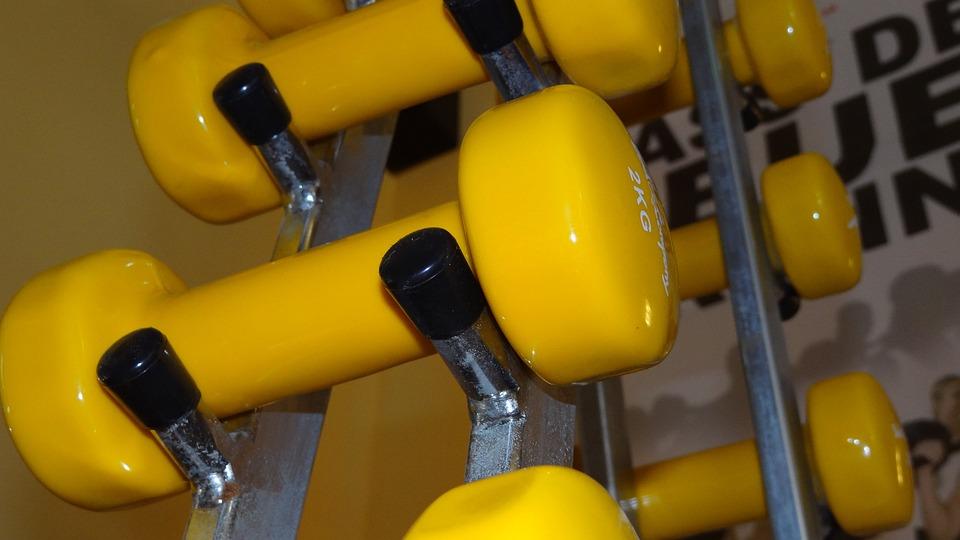Dumbbells, Yellow, Strength Training, Fitness