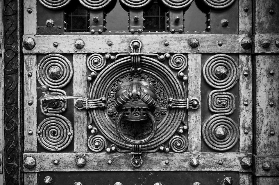 Door, Doorknocker, Input, Metal, Old, Fitting