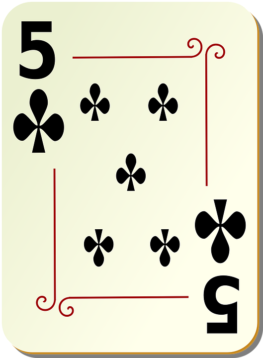 Five, Clubs, Playing Cards, Poker, Card, Games, Cards