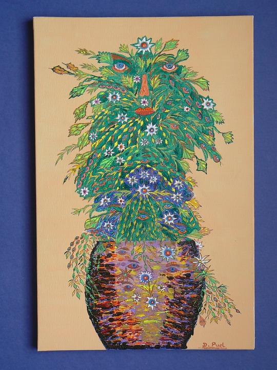 Five Senses, Pot, Terracotta, Flowers, Still Lifes