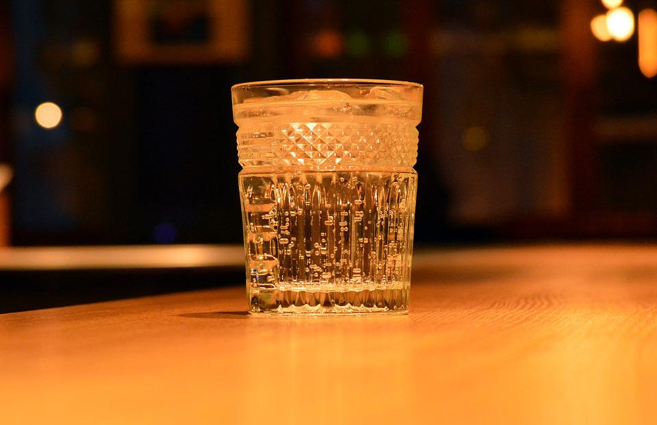 Clear, Glass, Water, Bar, Wooden, Fizzy, Drink