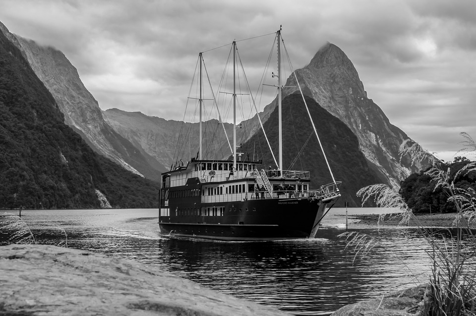 Milford Sound, New Zealand, Boat, Sea, Fjord, Paradise