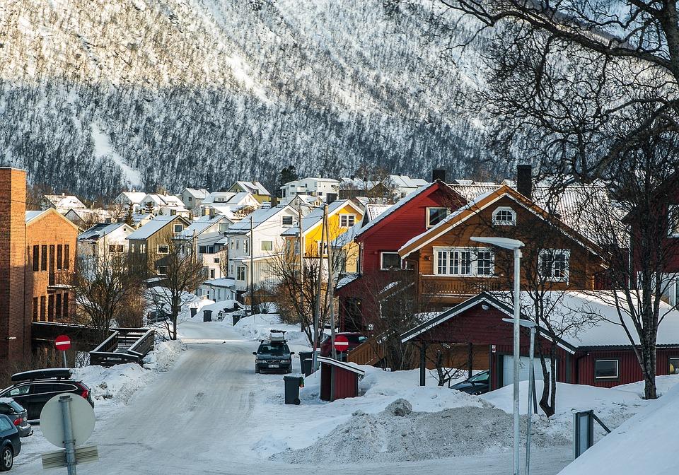 Norway, Lapland, Tromso, Fjord, Snowy Street