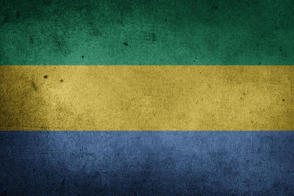 Flag, Gabon, Africa, Grunge