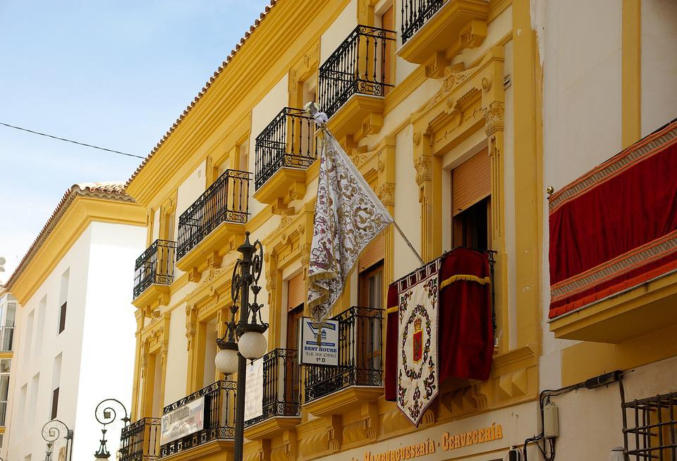 Spain, Andalusia, Lorca, Balconies, Flag, Architecture
