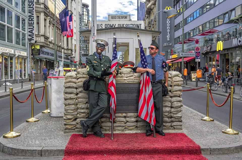 Checkpoint Charlie, Berlin, Germany, Guards, Flag