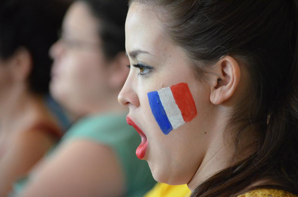 Girl, Support, Scream, Motivation, France, Flag