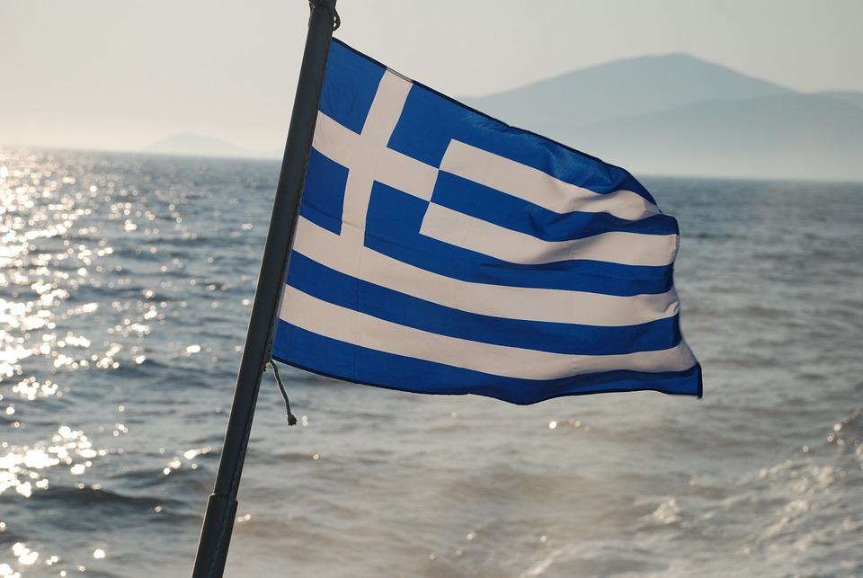 Flag, Greece, Sea, View, Mediterranean
