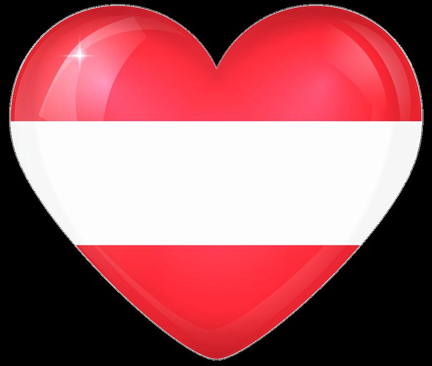 Austria, Large, Heart, Flag